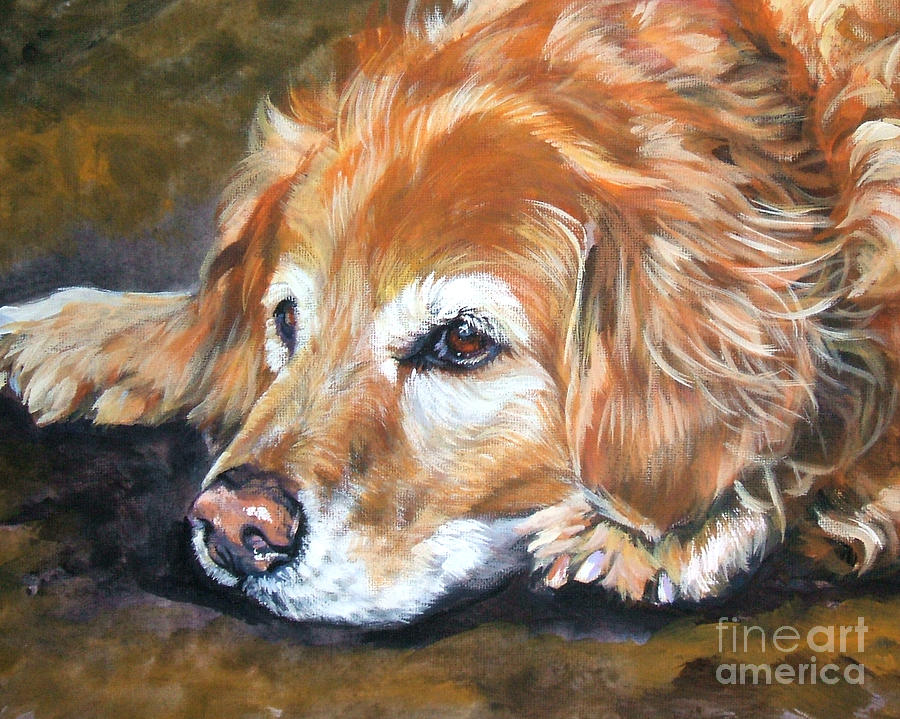 Golden Retriever Senior Painting  - Golden Retriever Senior Fine Art Print