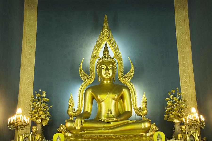 Golden Sitting Buddha Photograph  - Golden Sitting Buddha Fine Art Print