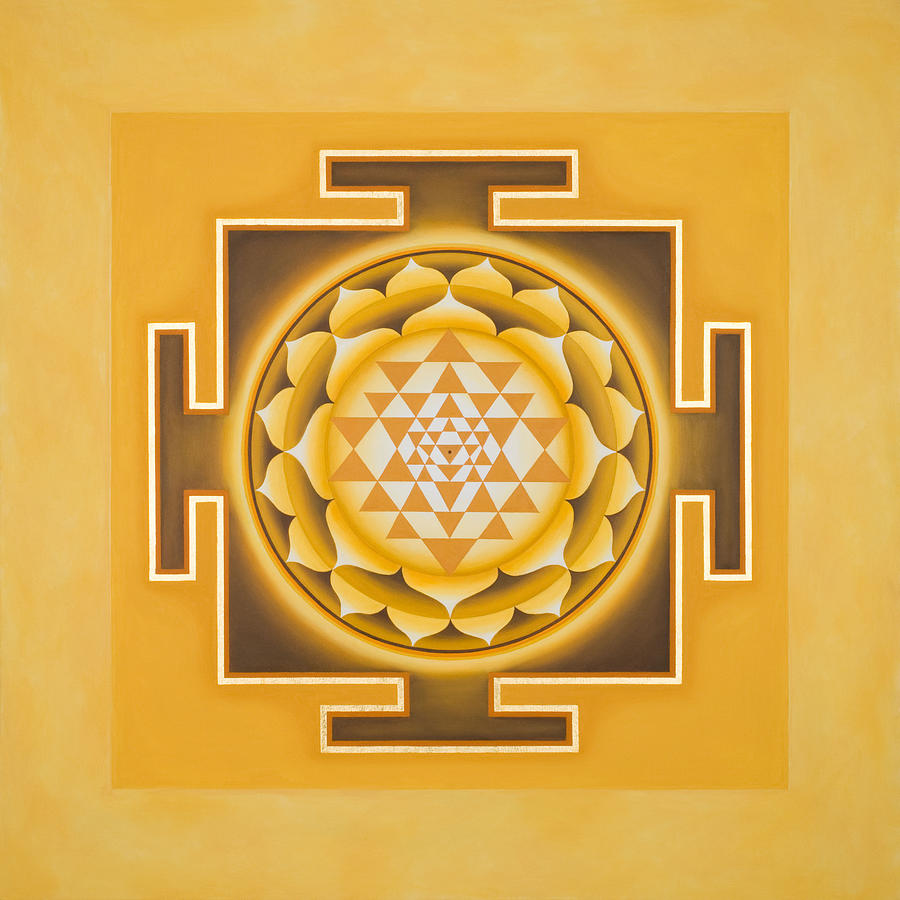 Golden Sri Yantra Painting  - Golden Sri Yantra Fine Art Print