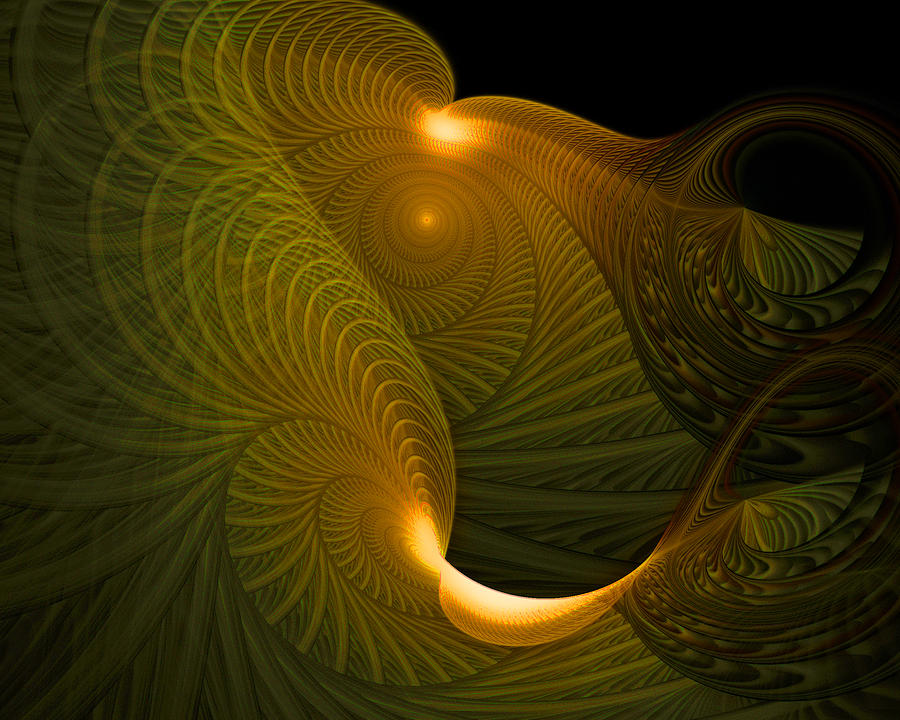 Golden Waves Digital Art