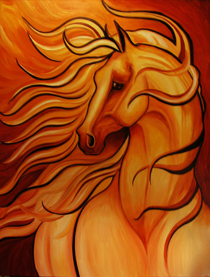 Golden Windblown Horse Painting