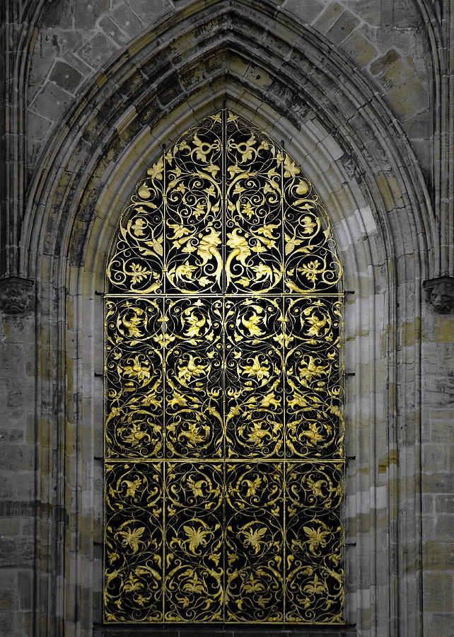 Golden Window - St Vitus Cathedral Prague Photograph
