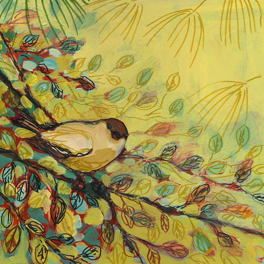 Goldfinch Waiting Painting  - Goldfinch Waiting Fine Art Print