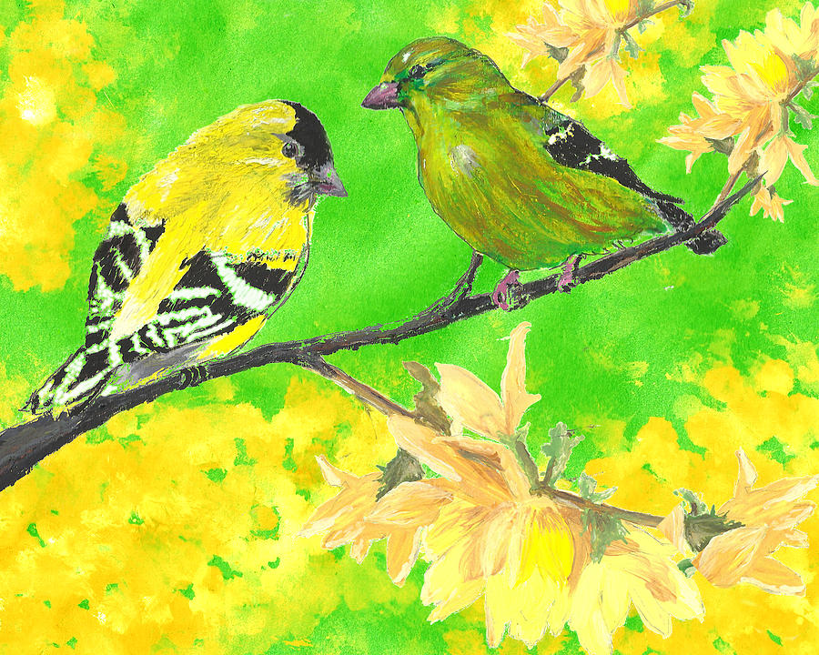 Goldfinches And Forsythia Painting