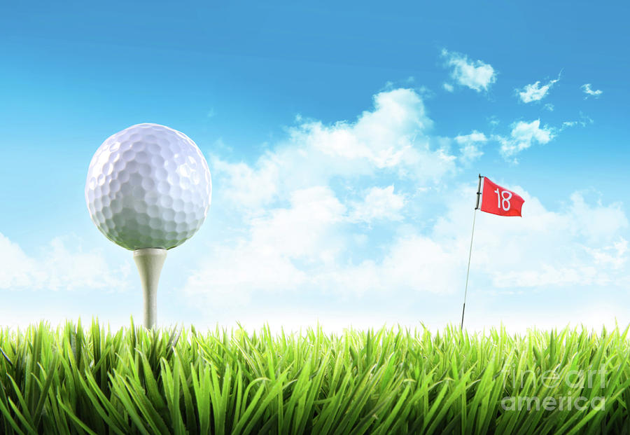 Golf Ball With Tee In The Grass  Photograph