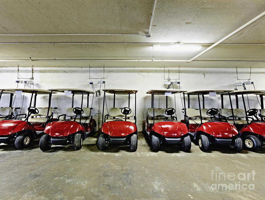 Golf Cart Parking Garage Photograph  - Golf Cart Parking Garage Fine Art Print