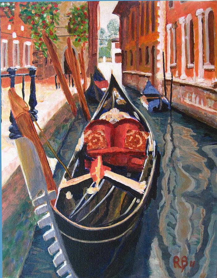 Landscape Painting - Gondola Veneziana by Robie Benve