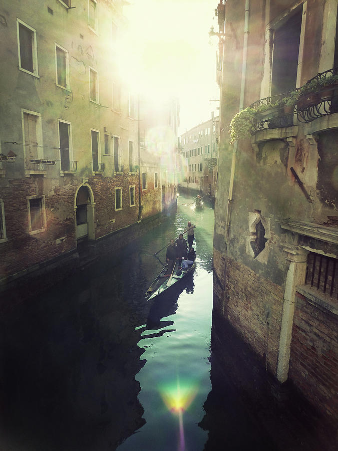 Gondolas In Venice Against Sun Photograph  - Gondolas In Venice Against Sun Fine Art Print