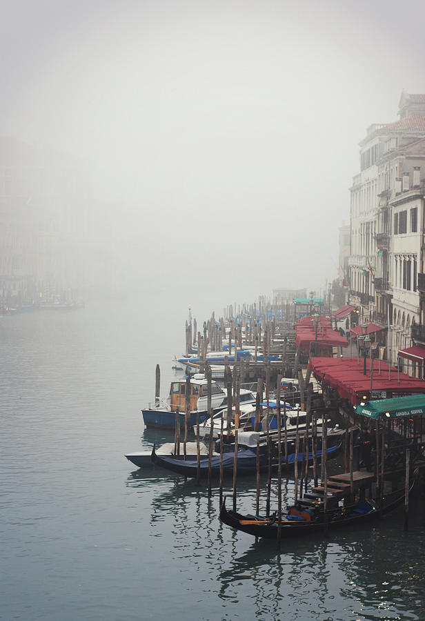 Vertical Photograph - Gondolas On Grand Canal In Fog by Silvia Sala