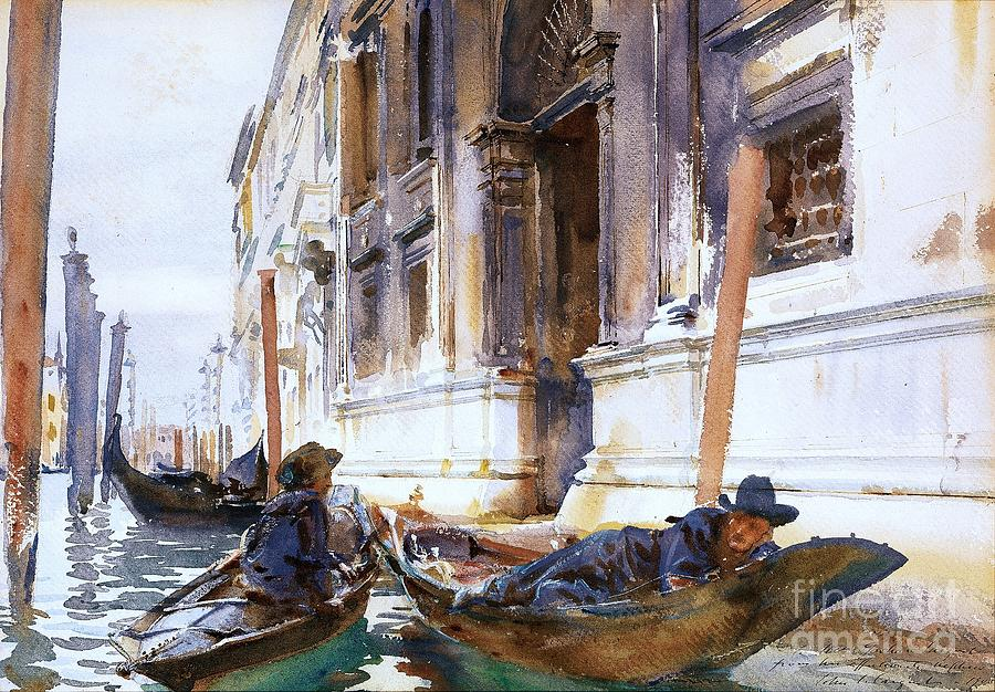 Pd Painting - Gondoliers  Siesta by Pg Reproductions