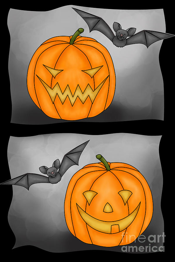 Good Pumpkin - Bad Pumpkin Digital Art