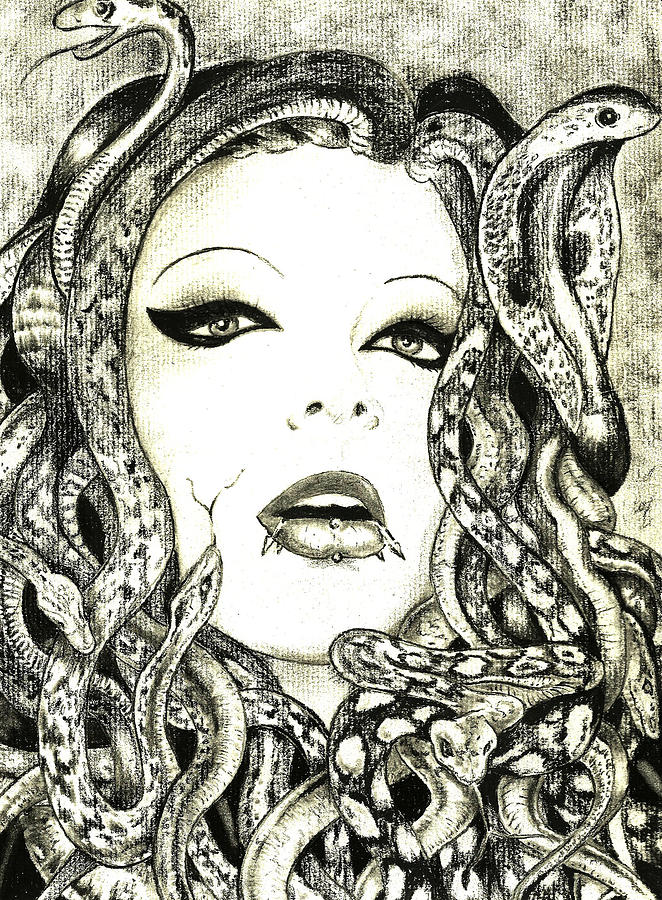 Gorgon Drawing  - Gorgon Fine Art Print