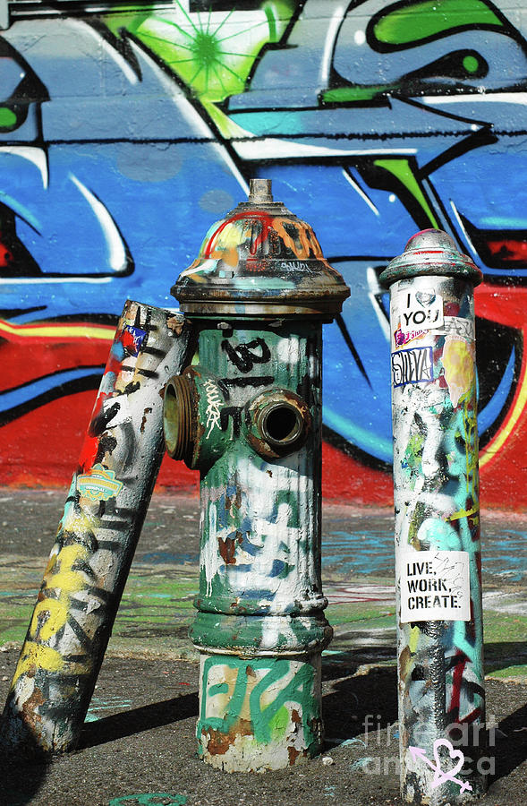 Graffiti Fire On Blue Photograph