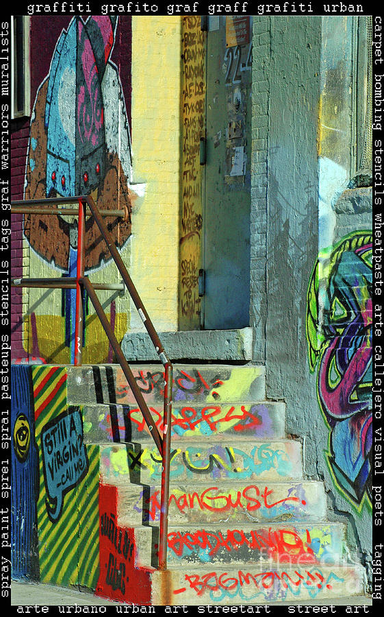 Graffiti Steps Wall Art Mixed Media  - Graffiti Steps Wall Art Fine Art Print
