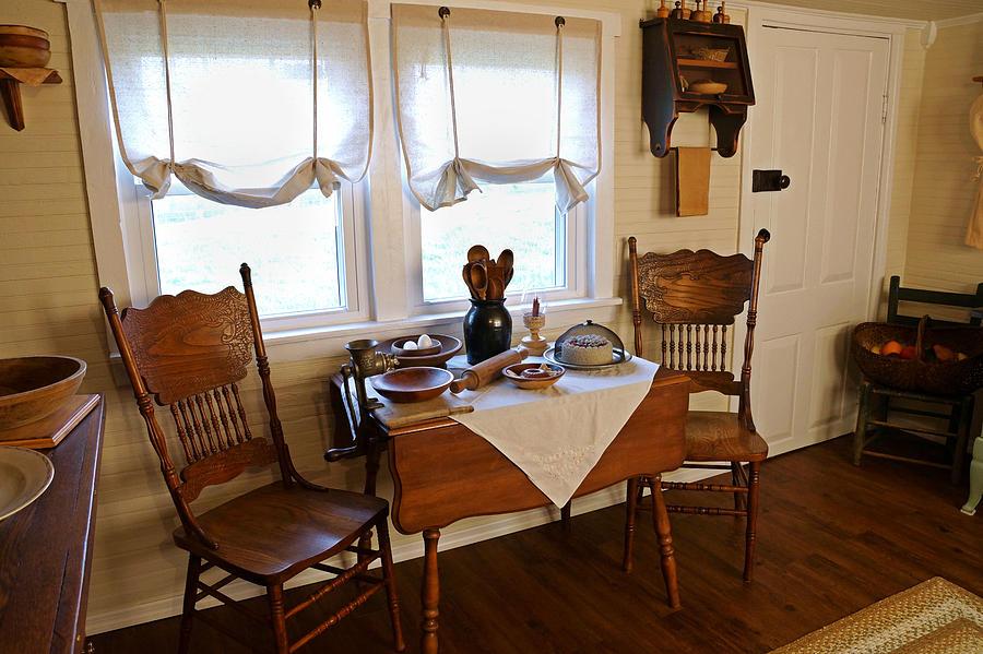 Antique Kitchen Photograph - Grammys Kitchen Table by Carmen Del Valle