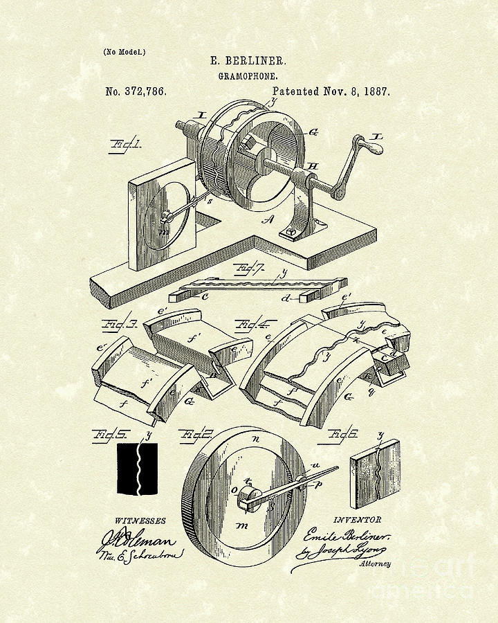 Gramophone 1887 Patent Art Drawing