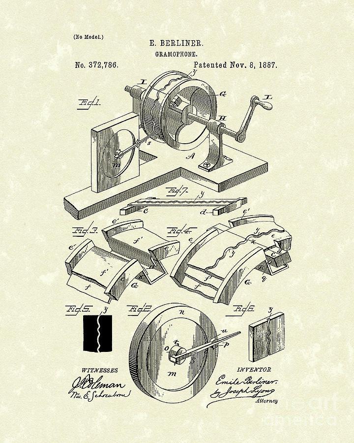 Berliner Drawing - Gramophone 1887 Patent Art by Prior Art Design