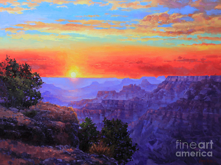 Grand Canyon Sunset Painting  - Grand Canyon Sunset Fine Art Print