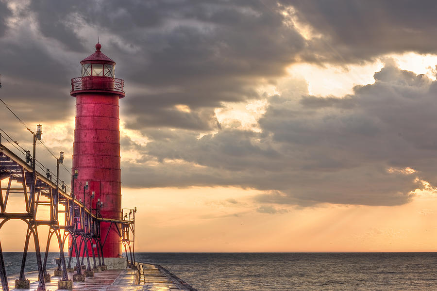 Grand Haven Lighthouse Hdr Photograph  - Grand Haven Lighthouse Hdr Fine Art Print