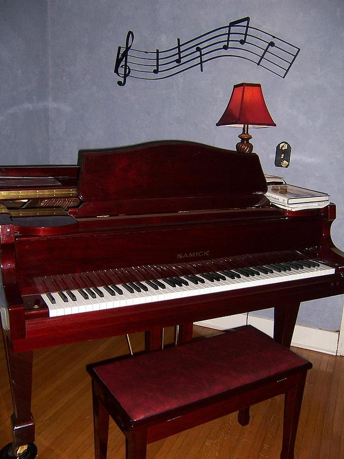Grand Piano In Blue Room Photograph