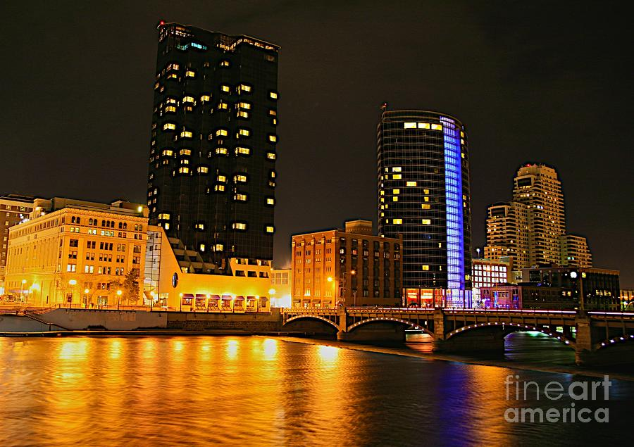 Grand Rapids Mi Under The Lights-2 Photograph  - Grand Rapids Mi Under The Lights-2 Fine Art Print