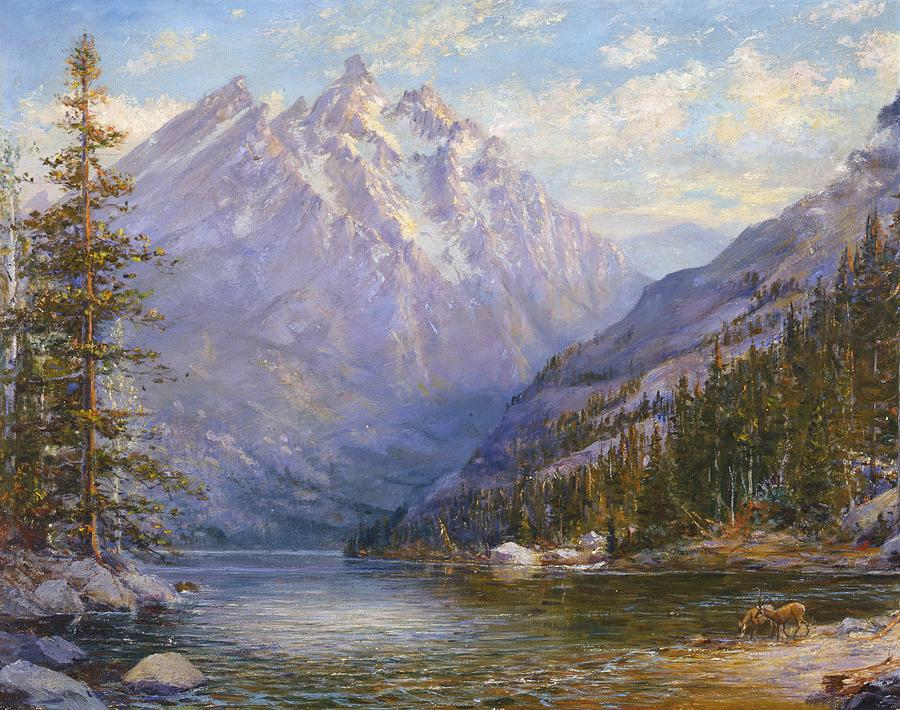Grand Tetons And Jenny Lake Tryptych Center Painting  - Grand Tetons And Jenny Lake Tryptych Center Fine Art Print