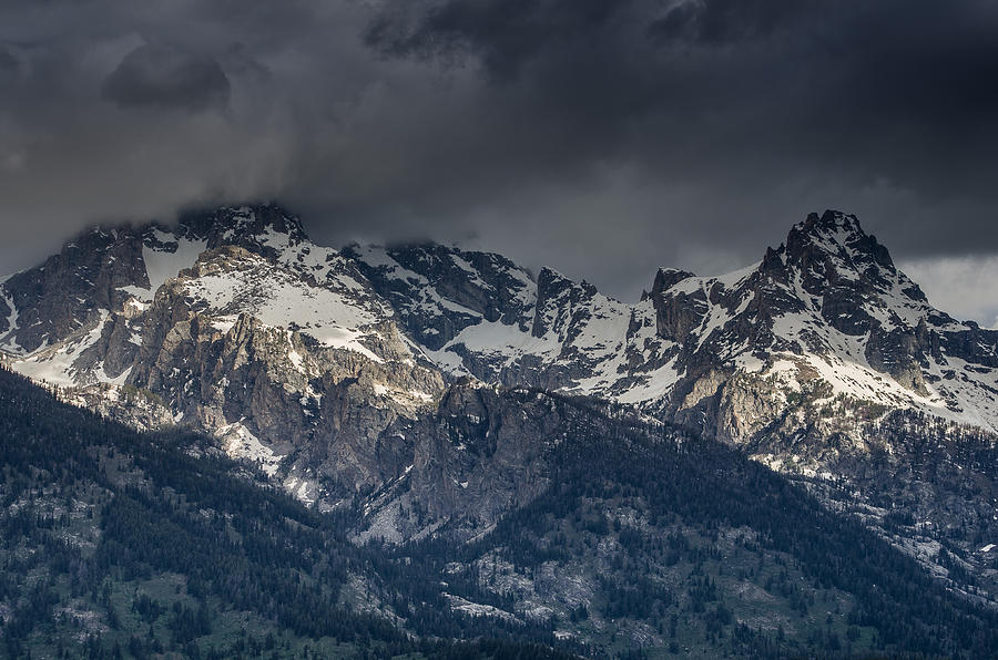 Grand Tetons Immersed In Clouds Photograph