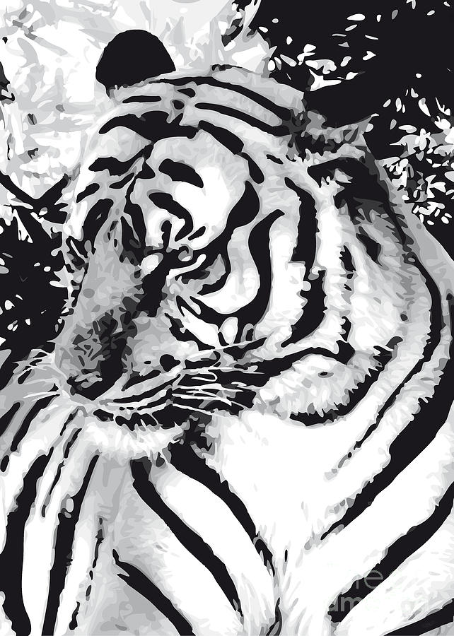 Grand Tiger Mono Digital Art  - Grand Tiger Mono Fine Art Print