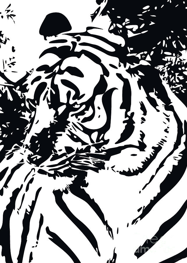 Grand Tiger White Digital Art  - Grand Tiger White Fine Art Print