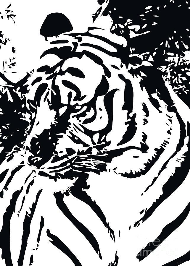 Grand Tiger White Digital Art