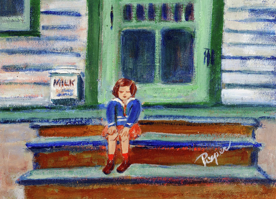 Grandmas Door Steps Painting  - Grandmas Door Steps Fine Art Print
