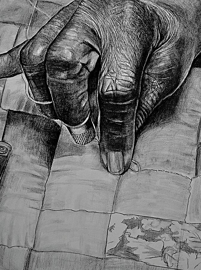 Grandmas Hands Drawing  - Grandmas Hands Fine Art Print