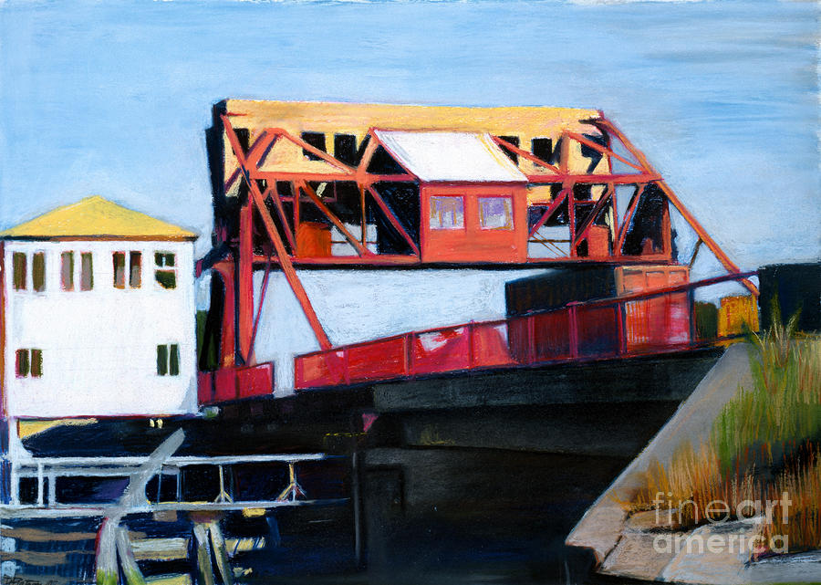 Granite Street Drawbridge At Neponset River Drawing  - Granite Street Drawbridge At Neponset River Fine Art Print