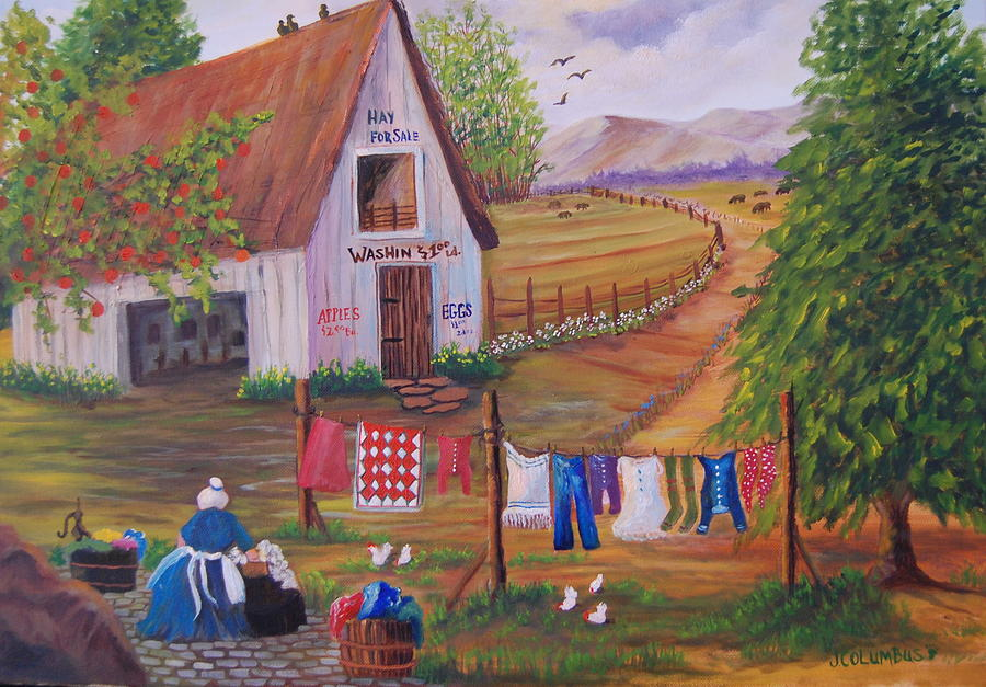 Granny And Her Laundry Painting  - Granny And Her Laundry Fine Art Print