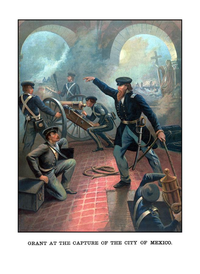 Grant At The Capture Of The City Of Mexico Painting  - Grant At The Capture Of The City Of Mexico Fine Art Print