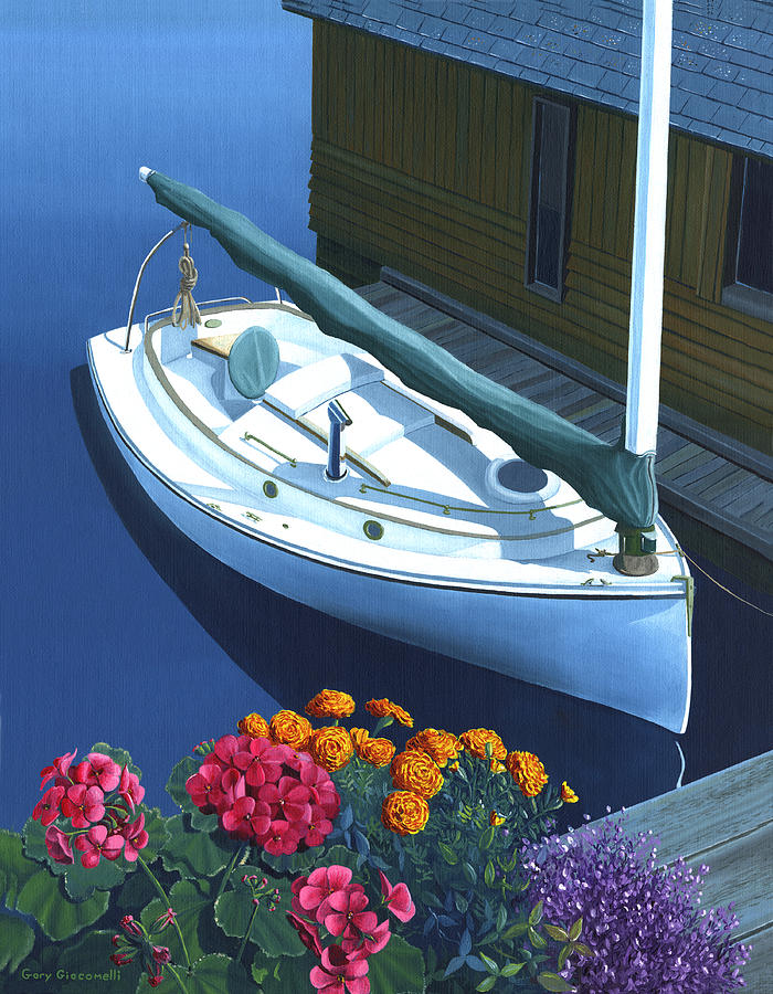 Granville Island Catboat Painting  - Granville Island Catboat Fine Art Print