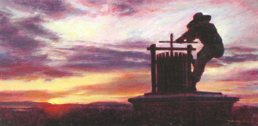 Grape Crusher Napa Valley Sunset Painting
