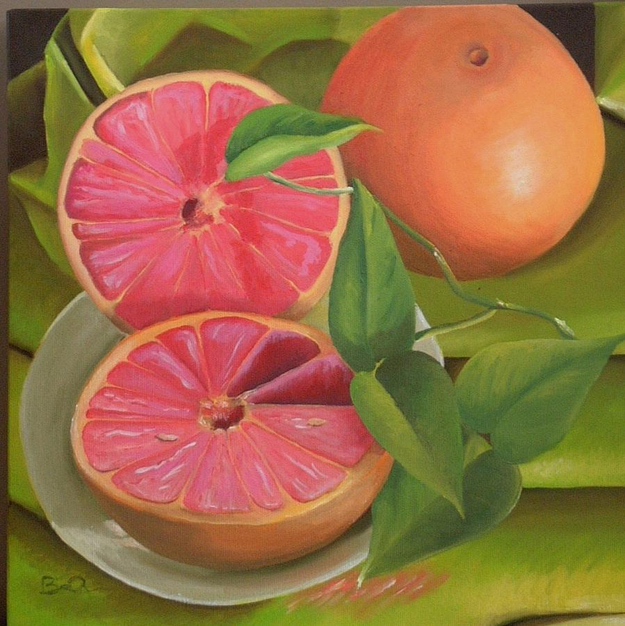 Grapefruit On Fabric Painting  - Grapefruit On Fabric Fine Art Print