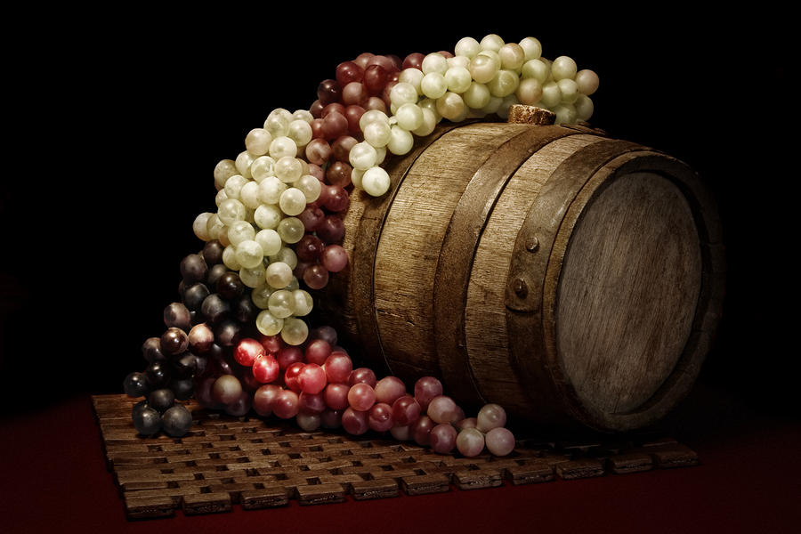 Grapes And Wine Barrel Photograph