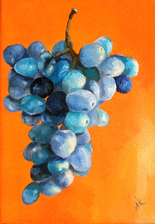 Grapes On Orange Painting  - Grapes On Orange Fine Art Print