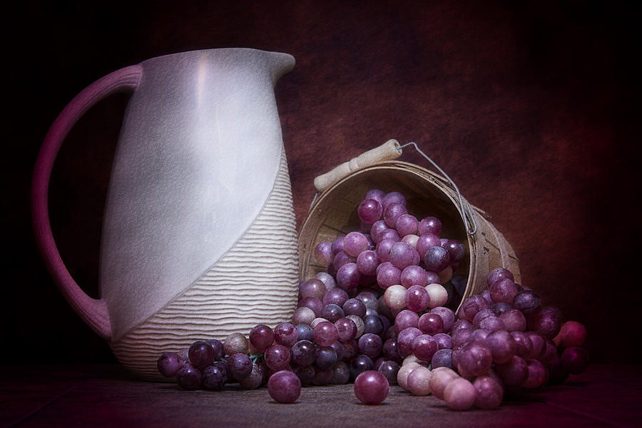 Art Photograph - Grapes With Pitcher Still Life by Tom Mc Nemar
