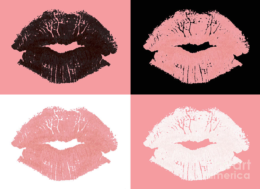 Lips Photograph - Graphic Lipstick Kisses by Blink Images