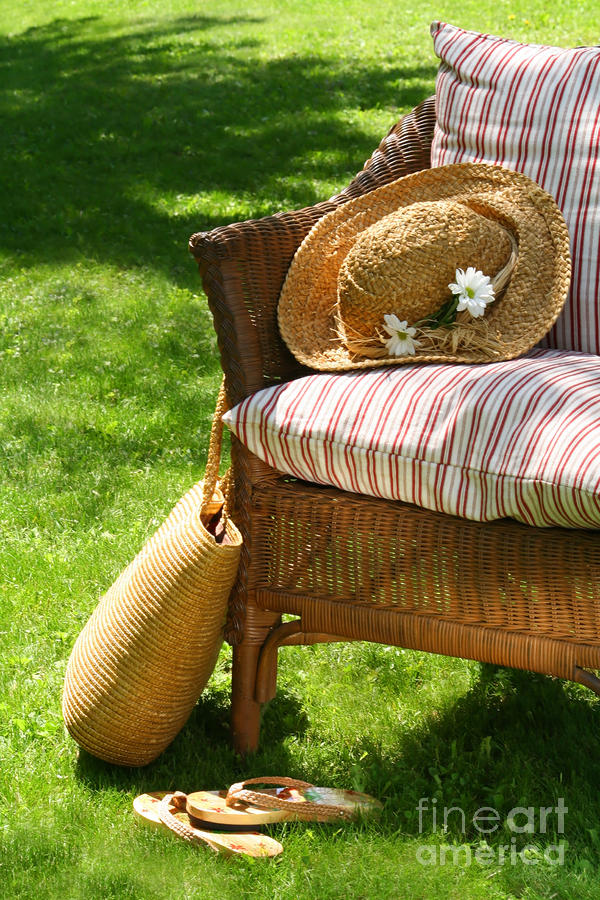 Grass Lawn With A Wicker Chair  Digital Art  - Grass Lawn With A Wicker Chair  Fine Art Print