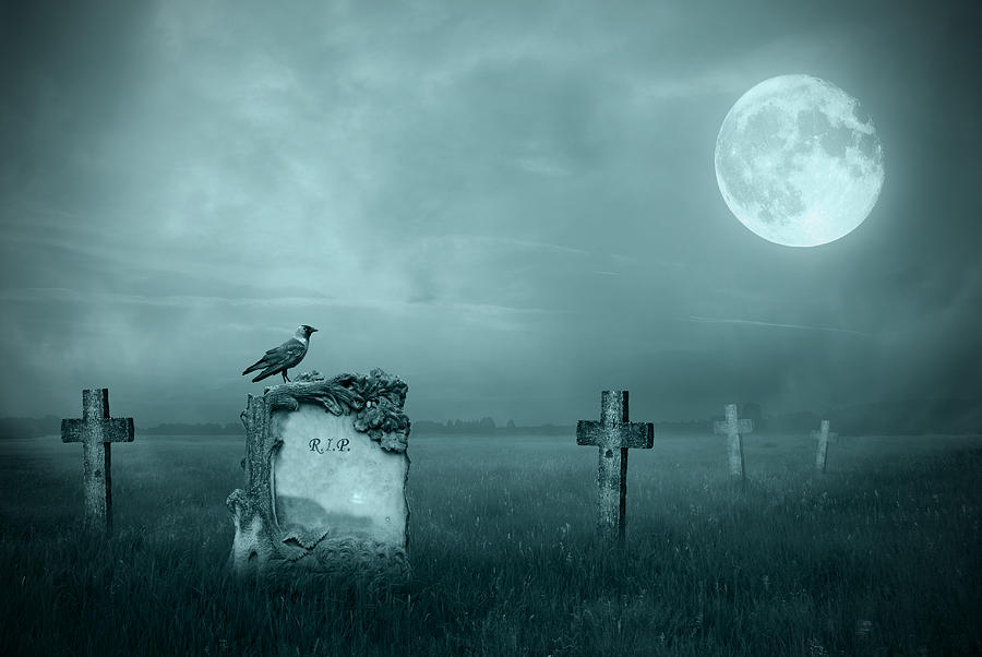 Gravestones In Moonlight Photograph  - Gravestones In Moonlight Fine Art Print