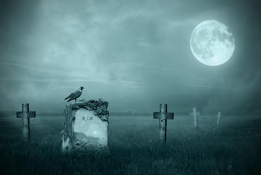 Gravestones In Moonlight Photograph