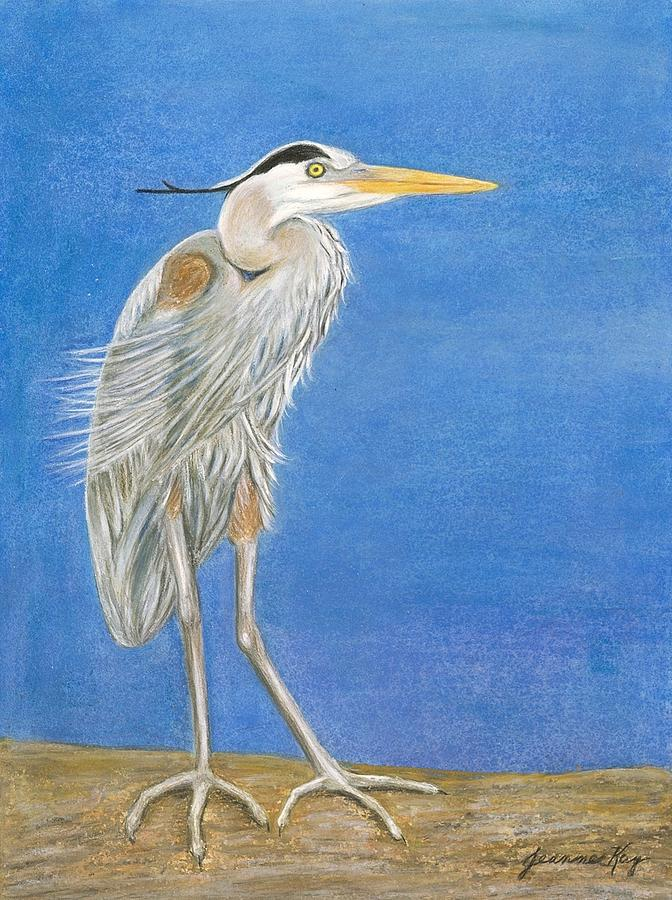 Great Blue Heron Windy Day Painting  - Great Blue Heron Windy Day Fine Art Print