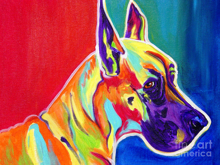 Great Dane - Rainbow Dane Painting  - Great Dane - Rainbow Dane Fine Art Print