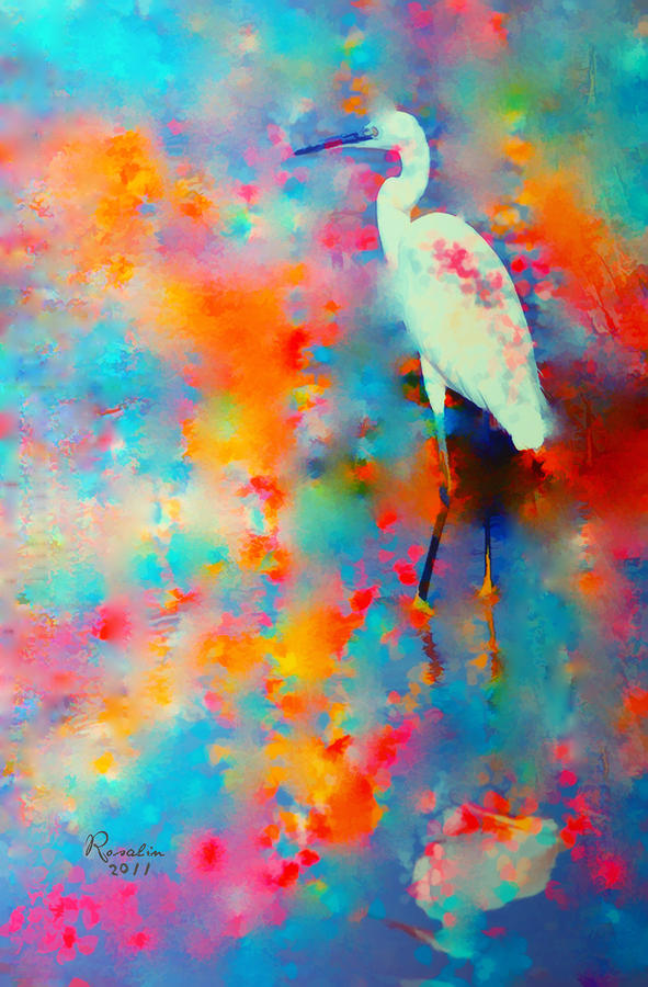 Great Egret  Painting  - Great Egret  Fine Art Print
