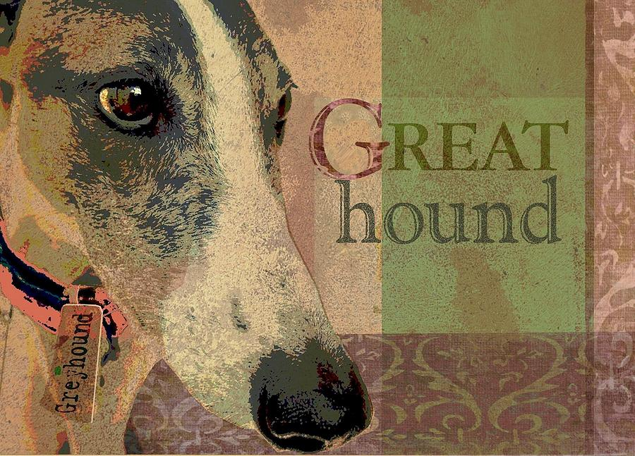 Great Greyhound Digital Art  - Great Greyhound Fine Art Print