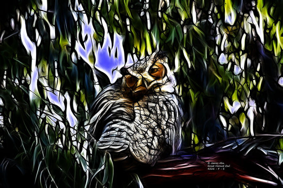 Great Horned Owl - 4228 - Fractal - S Digital Art